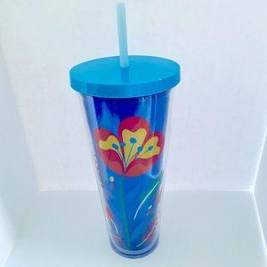 New Starbucks Blue Floral Tumbler 24oz